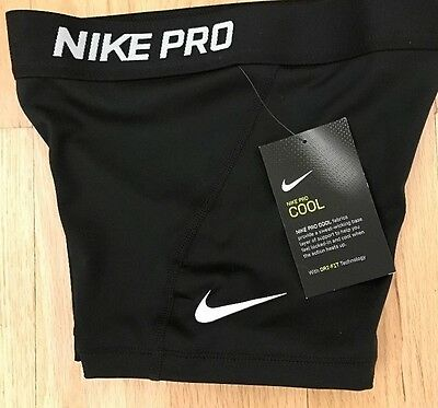 """NWT Nike Pro 3"""" Girl's Compression Shorts Black Authentic"""