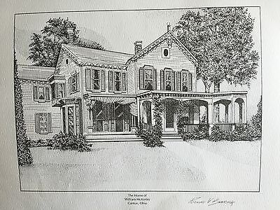 Signed Lithographs of Presidential Homes.  McKinley, Tyler, Coolidge, Harding