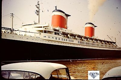 Original 1950s Red Slide, SS  United States Lines Ship in New York Harbor