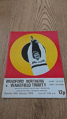 Bradford Northern v Wakefield 1976 Rugby League Programme
