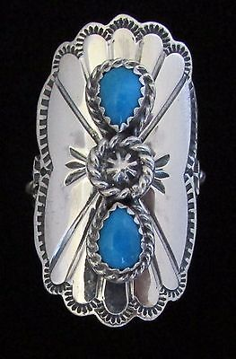 Native American Navajo Sterling Turquoise Ring Size 10 Signed Running Bear