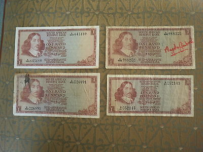 4 x Old South Africa 1 Rand Banknotes