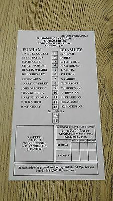 Fulham v Bramley 1983 Rugby League Programme (Single Sheet)