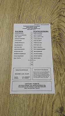 Fulham v Featherstone 1981 Rugby League Programme (Single Sheet)
