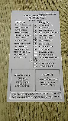 Fulham v Keighley 1983 Rugby League Programme (Single Sheet)