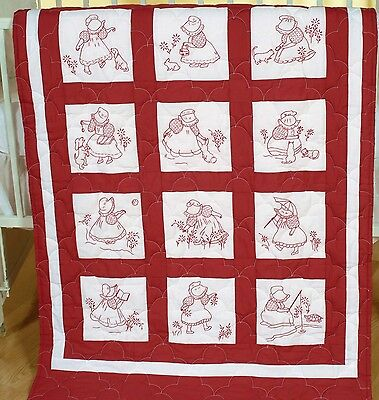 SUNBONNET GIRLS QUILT BLOCK SET HAND EMBROIDERY PATTERN, From Jack Dempsey Inc.