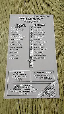 Fulham v Rochdale 1981 Rugby League Programme (Single Sheet)