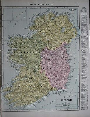 Original 1915 Map IRELAND Dublin Belfast Galway Cork Waterford Kerry Limerick