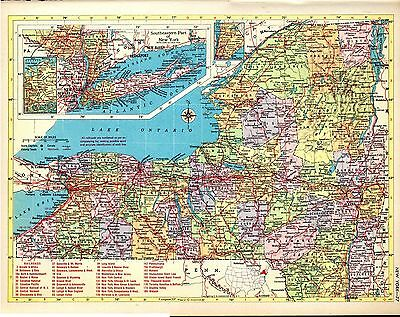 1954 New York and North Carolina 2 maps from Hammond Atlas ORIGINAL map A2