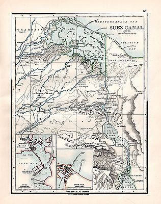 1893 TWO ORIGINAL MAPS SUEZ CANAL and ABYSSINIA JOHNSTON ATLAS