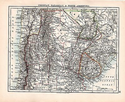 1893 TWO ORIGINAL MAPS URUGUAY PARAGUAY NORTH ARGENTINA and SOUTH JOHNSTON ATLAS