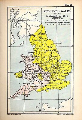 1912 ORIGINAL map England and Wales after Campaigns 1644 Cambridge History 35