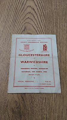 Gloucestershire v Warwickshire 1963 County Semi-Final Rugby Union Programme