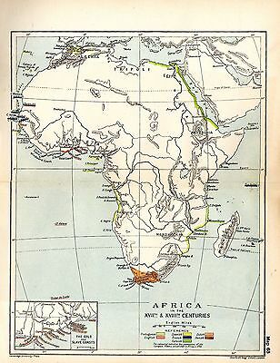 1912 ORIGINAL map Africa in 17th and 18th Centuries Gold and Slave Coasts 65