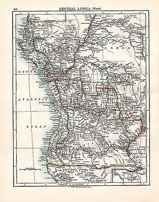 1893 TWO ORIGINAL MAPS NORTHWEST AFRICA and CENTRAL AFRICA JOHNSTON ATLAS