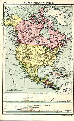 1880 ORIGINAL antique MAP NORTH AMERICA CANADA UNITED STATES Walkers Ideal atlas
