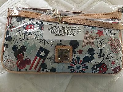 SOLD OUT NWT Dooney And Bourke Patriotic Mickey American Flag Wristlet Disney