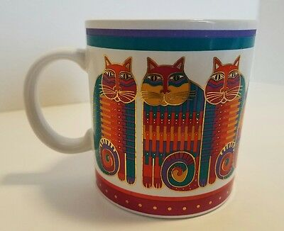 Laurel Burch RAINBOW CAT COUSINS 1988 12 oz Coffee Mug Tea Cup