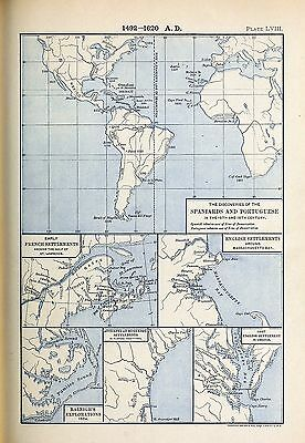 1905 map Discoveries Spaniards Portuguese in Fifteenth Sixteenth Centuries 58