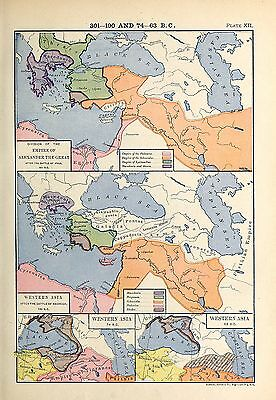 1905 map Division Empire Alexander Great 301 BC Battle Magnesia Western Asia 12