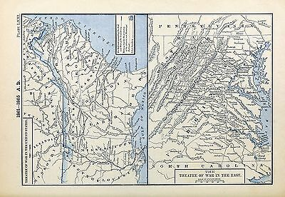 1905 map Civil War 1861-1865 Sherman's March theater  War in East Virginia 71