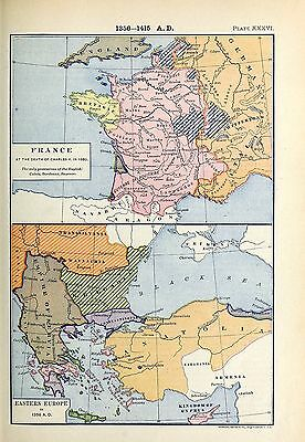 1905 map Eastern Europe in 1356 France at Death Charles V 1380 Labberton 36