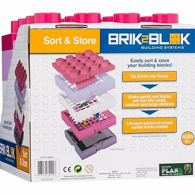 Pink Lego / Blocks sort and store container with handle