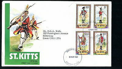 1982 St Kitts FDC. Military Uniforms. First Day Cover. Sword, Rifle