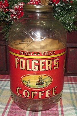 Folgers 2 lbs. glass coffee jar with mountain scene above label