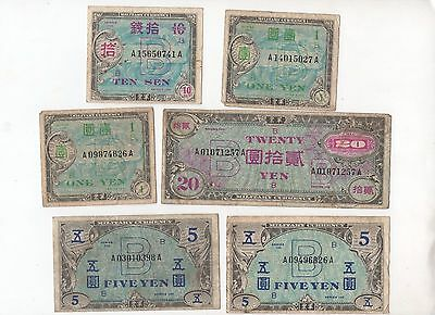 J66 Japan Allied Military Currency 10 Sen 1 5 20 Yen 1944-45 1946 P-73 Banknotes