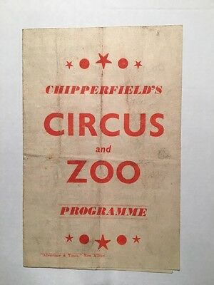 Programme for Chipperfields Circus And Zoo