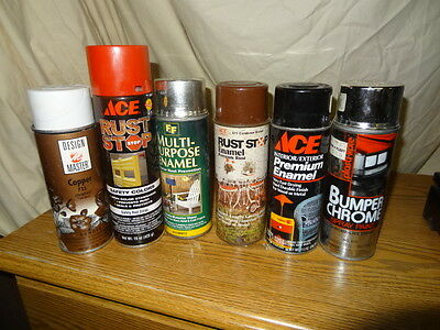 6 vintage spray cans of paint   USED