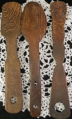 3 African Wooden Wood Spoons or Paddles Interesting Hand Made Africa Item
