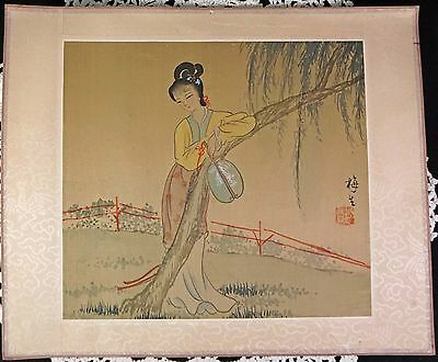 Wood Block Print Japanese Geisha Girl with Fan Standing by Tree Signed