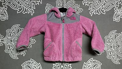The North Face Infant's Solid Pink/Gray Winter Denali Fleece Jacket Sz 12-18M