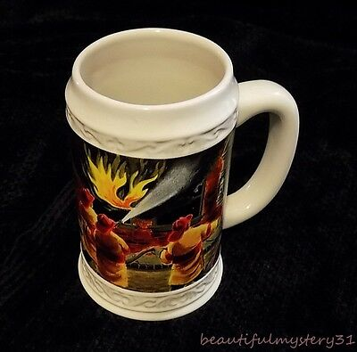 """Papel Giftware 6"""" Off White Colorful Firefighter Firemen Ceramic Beer Mug Stein"""