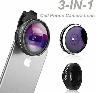 Phone Camera Lens, Comsun 3 In 1 Universal Clip-on Cell Phone Camera Lens Kit,
