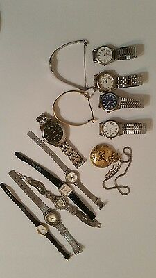 Lot of 13 Vintage Watches for Repair/Parts-Times, Seiko, Embassy, Giorgio Armani