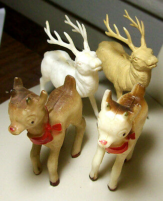Vintage (1950s?) Lot of Figural Plastic Christmas Ornaments-2 Reindeer & 2 Fawn
