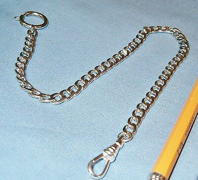 Sharp White Pocket Watch Chain 12.5 inch Strong and Sturdy w/belt loop & swivel