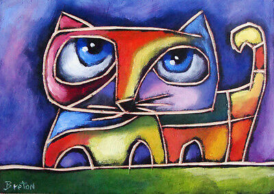 Oil Painting wood Cat Abstract Original Modern Art   FREE SHIPPING