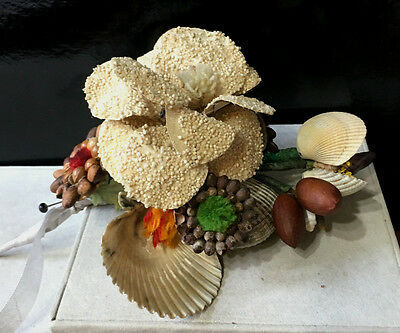 Antique Victorian Wedding Wreath Flowers made from Seeds and Shells
