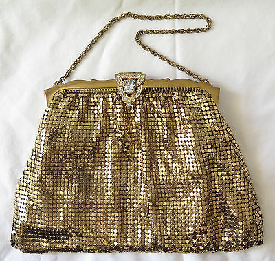 Vintage Whiting and Davis Gold Mesh Evening Handbag With Rhinestones
