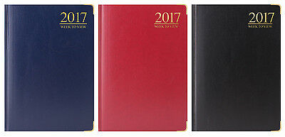 2017 Diary Gold Corner Padded Corners Week To View Pocket/slimline/a6