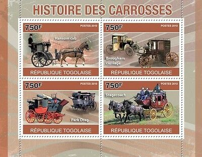 History of Horse Carriages horses transport Togo 2010 m/s Mi. 3699-3702 TG10411a
