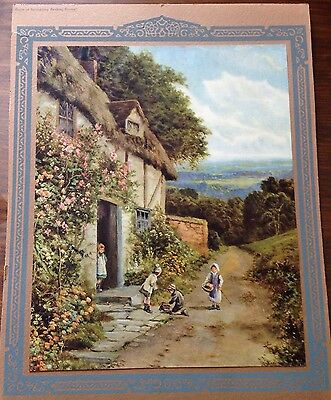 Vintage Art Print 10x12 1/2 By Daniel Sherrin, Cottage With Roses & Children