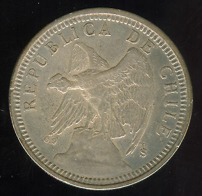 Higher Grade  1927 Chile Silver 5 Pesos