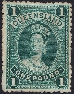 Stamps Queensland - Chalon 1 Pound Thick Paper Wm Cr/Q Upright - Used.