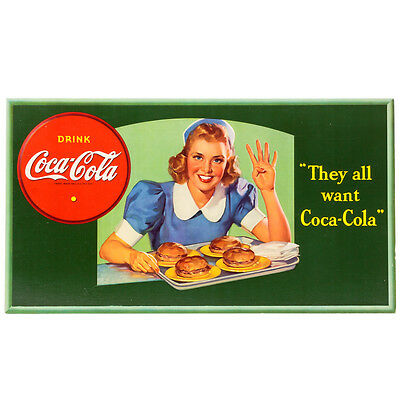 Vintage 1941 They All Want Coca-Cola Cardboard Sign Original Collectible