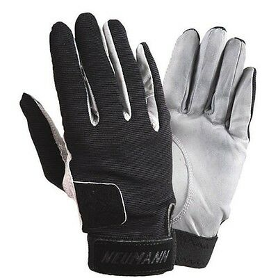 Neumann Tackified Leather Summer Riding Gloves - Black & White - All Sizes